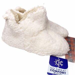 Dearfoams Chelsea Sherpa Booties L 9-10 Slippers Cream Comfort Memory Foam