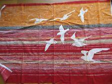 Vintage LOKKI Finland Tampella Mid-Century Modern Silkscreen Birds Fabric 52X35