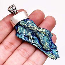 Colgante de Plata de Ley 925 17.11 Gram Natural Aura Cianita Multicolor Colgante