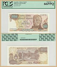 1976-1983 Argentina 1000 Pesos PCGS 66 PPQ Gem New Unc Banknote Currency