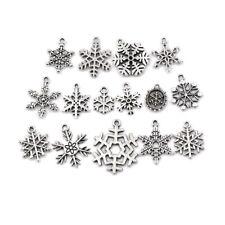 15pcs Tibetan Christmas Snowflake Charm Pendant Diy Necklace Bracelet Craft FO