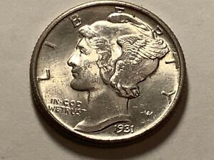 1931.  Mercury Head  Dime 90% silver 10% copper **Free Shipping**