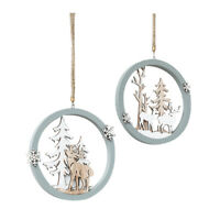 3Pcs Santa Claus Deer New Year Natural Wood Christmas Tree Ornaments Pendan X1C4