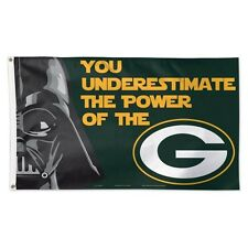 """GREEN BAY PACKERS  """"YOU UNDERESTIMATE THE POWER OF"""" 3X5 DELUXE FLAG NEW"""