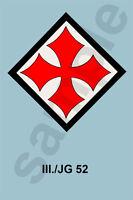 aviation art luftwaffe pilot photo postcard colour WW2  III JG 52 emblems