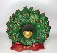 Vtg Ceramic Christmas Wreath Red Green Lighted Bow Tampa Bay Mold Light w Acorns