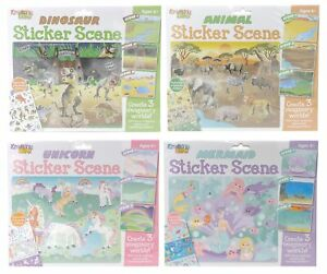 Kreative Kids Pk 2 Reusable Sticker Scene Sets~ Unicorn Dinosaur Animals Mermaid