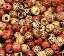 """100 Holzperlen """"Mix"""" 12 x 11mm Perlen Holz Großloch-Perlen Fädelperlen (0,05€/1S"""