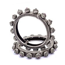 Indian Ethnic Bangle Kada Set Of Two Size 2.10 Silver Antique Bollywood Jewelry