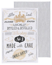NOW DESIGNS Dish Towel Tea Towel SMALL BATCH WHISKEY SET OF 2 NWT 100% Cotton