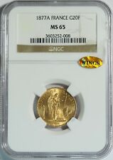 "1877A Gold 20 Franc NGC MS65 (WINGS Gold Sticker) -- ""Lucky"" Angel Coin"