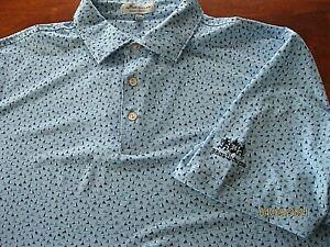 NWOT PETER MILLAR Crown Sport Summer Comfort Golf Polo Shirt Sailboat Blue LOGO