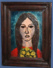 1990 CERAMIC EXPRESSIONIST PORTRAIT HAND PAINTED WALL DECOR TILE SIGNED