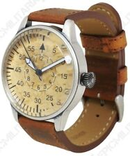 Luftwaffe ME 109 PILOT WATCH-VINTAGE Tedesco in Pelle Marrone Gialla Air Force NUOVO