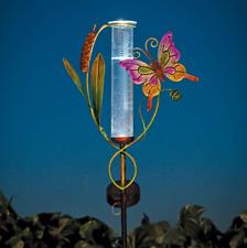 Solar Powered Butterfly Rain Gauge Garden Statue - Solar Panel Captures Sunlight