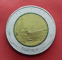Italy Error Coin , 500 Lire 1987 , Error Mint - Off Center ,Bi -Metallic ,KM#111