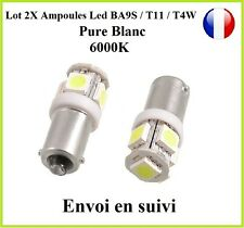 2X Ampoule BA9S T4W T11 5050 SMD 5 LED 6000K Blanc Pure Veilleuse Lampe Peugeot