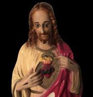 """Sacred Heart of Jesus Chalkware Statue 13.5"""" Vtg Mid Century Christian Religious"""