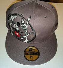 New Era Disney Bloc 28 MICKEY MOUSE 5950 Fitted Hat Cap 7 1/4 Grey Painting