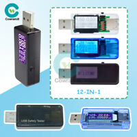 12in1 7in1 USB Voltage Current Tester Meter LCD Digital Power Voltmeter Detector