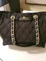 MY FLAT IN LONDON By Brighton Black Large Quilted Nylon/Patent Leather Handbag!!