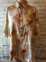Island Republic Men's Shirt Hawaiian Floral Silk Lined Short Sleeved Size LARGE