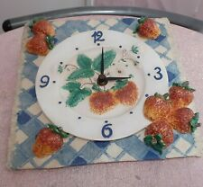 VINTAGE CERAMIC KITCHEN CLOCK WITH 3D STRAWBERRYS  AND BLUE CRISS CROSS DESIGN