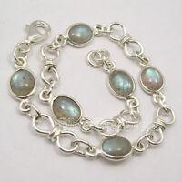 925 Solid Silver Labradorite Bracelet Fancy Art Jewellery
