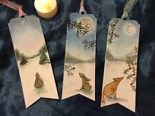 3 Handmade Woodland Animals Christmas Bookmarks