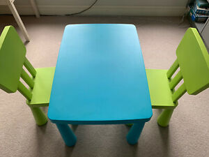 ikea mammut children's table and 2 chairs. Blue & Green