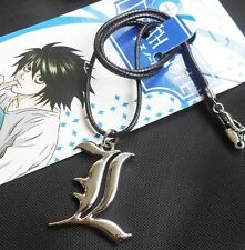 Anime Death Note Letter L Lawliet Kira Alloy Pendant Necklace w Black String Cos