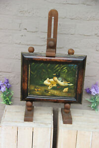 Gorgeous Oil panel painting ducks family animal on wood easel