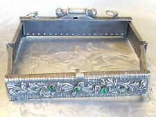 ANTIQUE VICTORIAN EDWARDIAN FANCY SQUARE PURSE FRAME EMERALD GREEN GLASS JEWELS