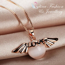 """18K Rose Gold Plated Simulated Opal Very Cute  Word """"Love"""" Angel Necklace"""