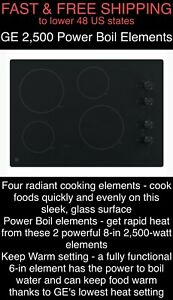 """FREE SHIPPING New GE 2500-Watt Power Boil 30"""" Smooth Radiant Electric Cooktop"""