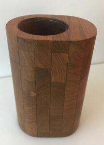 Siamese Teak Staved Teak Vase w/Glass Liner Ernest Sohn Danish Modern MCM ATAPCO