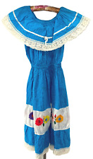 New listing Vintage Mexican Embroidered Dress M Off Shoulder Crochet Turquoise Blue Peasant