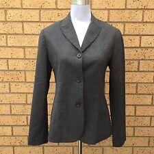 Jigsaw Blazer Suit Dress Jacket Grey Wool Blend Long Sleeves Fully Lined Size 10