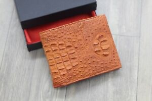 Orange Genuine Crocodile Alligator Leather Wallet Men's Bifold