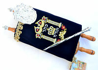 Beautiful Judaica sefer torah Scroll Book Hebrew Bible & yad pointer israel