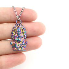 "22190 Rainbow Color Elephant Buddha Beads Cage Locket Charm Steel Necklace 18"""