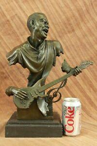 Art Deco Large Black American Music Musician Guitar Player Jazz Bronze Statue