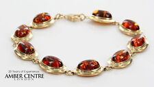 ITALIAN MADE CLASSIC  BALTIC AMBER BRACELET IN 9CT GOLD -GBR134  RRP£775!!!