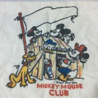Vintage Micky Mouse Club Towel Kids USA Made White Disney Donald Pluto
