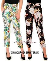 Ladies EX M&S Cotton Rich Printed Jersey Ankle Grazer Tapered Peg Trousers 8-18.
