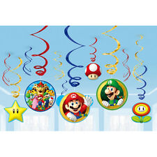 12 Super Mario Bros Gaming Birthday Party Dangling Cutout Swirl Decorations