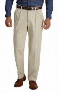 Haggar Mens Pants Beige Size 36X30 Pleated No Iron Khaki Stretch $70 #142