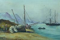 tableau ancien Hst Marine Paysage animé retour de Pêche Bretagne signé J Vallet