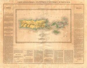 'Porto-Rico et des Iles-Vierges'. Puerto Rico & Virgin Islands. BUCHON 1825 map