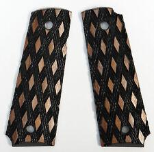Herrett 1911 Full Size Black Lacquer Diamond Checkered Grips - Brand New